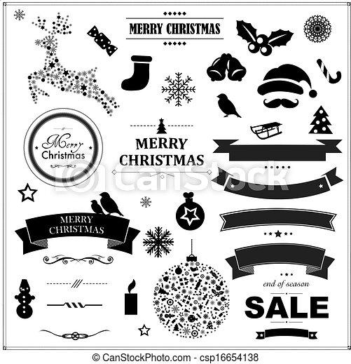 集合, 葡萄酒, 符號, 黑色, 帶子, 聖誕節 - csp16654138