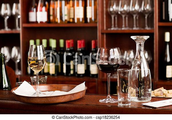 集合, 酒吧, 品嘗, 向上, 裝飾, 托盤, 酒 - csp18236254
