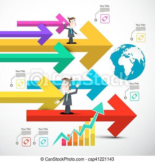 集合, 鮮艷, 圖象, 圖表, 全球, 箭, infographics., 紙, 箭, 技術 - csp41221143