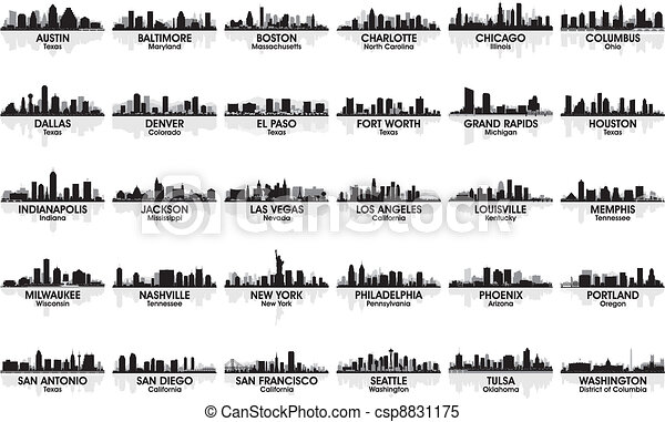 難以置信, skyline., 30, cities., 美國, 集合, 城市 - csp8831175