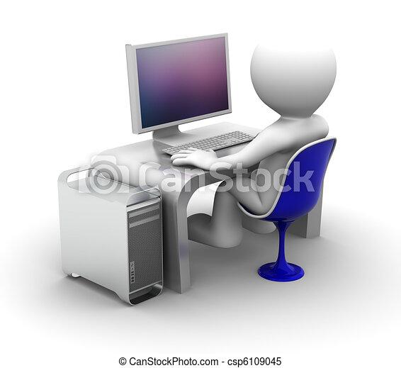 電腦, 字, 工作, 3d - csp6109045