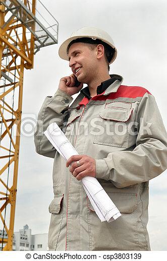 電話, 建造者, 建築工地 - csp3803139