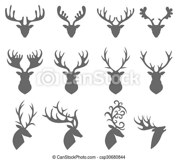 頭, 背景, 鹿, 集合, 黑色半面畫像, 白色 - csp30680844