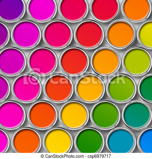 顏色, 頂部, 畫罐, 罐頭, 看法 - csp6979717