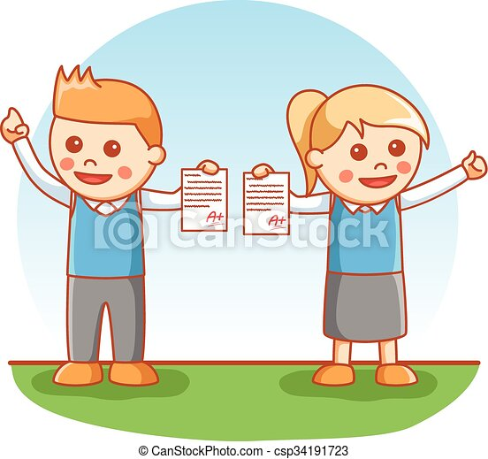 顯示, 孩子, 學校, 考試 - csp34191723
