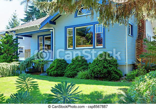 風格, 後面, 房子, 工匠, 樹, 藍色, 老 - csp8567887