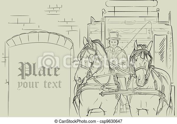 馬, 車, 矢量 - csp9630647