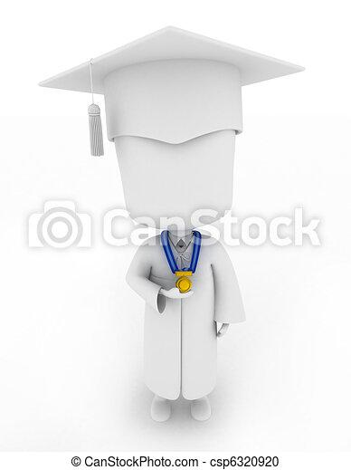 驕傲地, 顯示, 他的, 獎章, 畢業生 - csp6320920