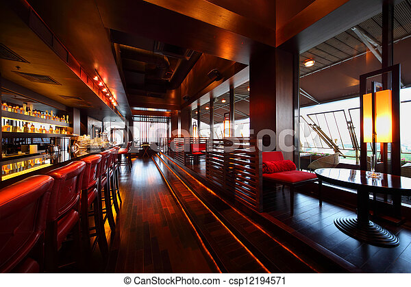 高, 座位, 空, 椅子, 表, 行, 計數器, 紅色的條狀物, 舒適, 餐館 - csp12194571