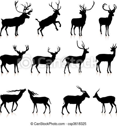 鹿, 黑色半面畫像, 彙整 - csp3618325