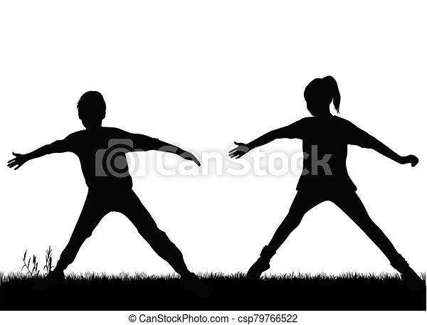 黑色半面畫像, 孩子, sport. - csp79766522