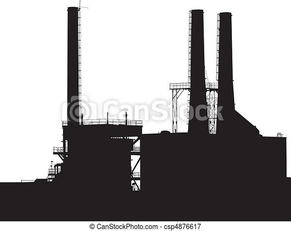 黑色半面畫像, 工廠 - csp4876617