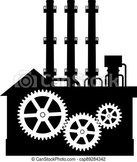 黑色半面畫像, 工廠, icon. - csp89284342