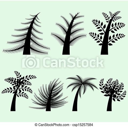 黑色半面畫像, 矢量, 樹, 彙整 - csp15257584