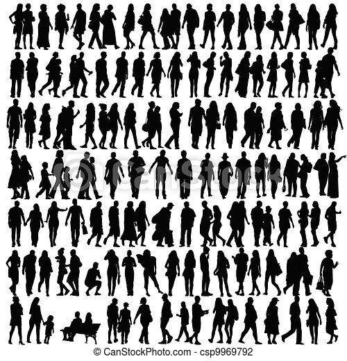 黑色半面畫像, 矢量, 黑色, 人們 - csp9969792