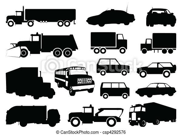 黑色半面畫像, 矢量, cars., 插圖, 彙整 - csp4292576