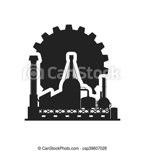 黑色半面畫像, 設計, 齒輪, 工廠 - csp39607028