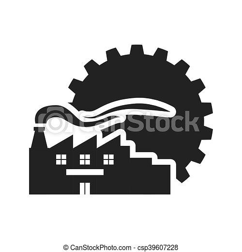 黑色半面畫像, 設計, 齒輪, 工廠 - csp39607228
