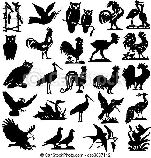 黑色半面畫像, 鳥, 插圖, 彙整 - csp3037142