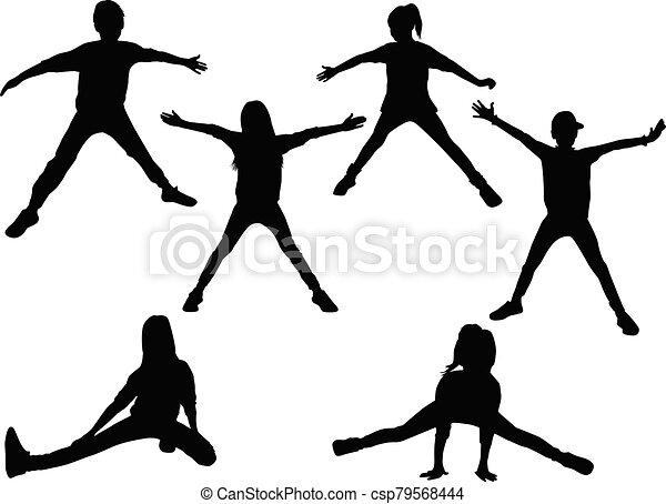 黑色半面畫像, sport., 孩子 - csp79568444