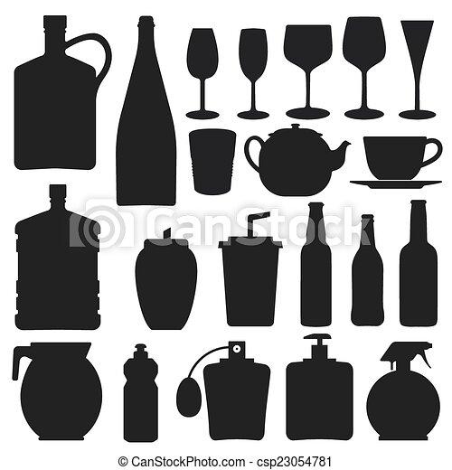 -, 矢量, 黑色半面畫像, 瓶子, 彙整 - csp23054781