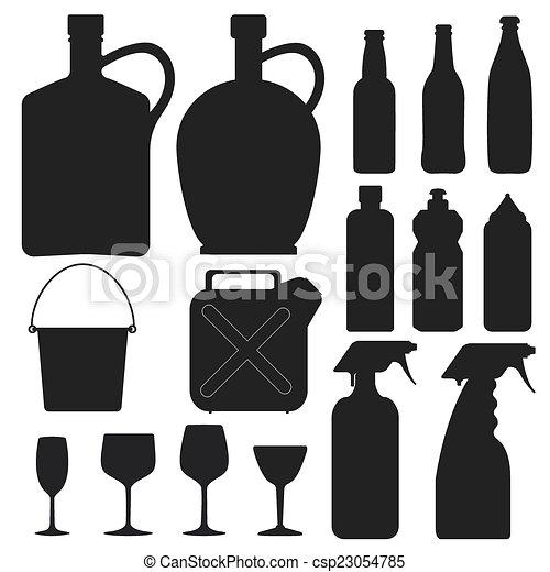 -, 矢量, 黑色半面畫像, 瓶子, 彙整 - csp23054785
