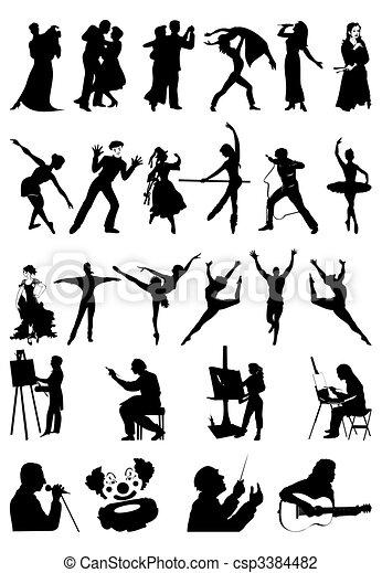 art., 黑色半面畫像, 矢量, 插圖, 人們 - csp3384482