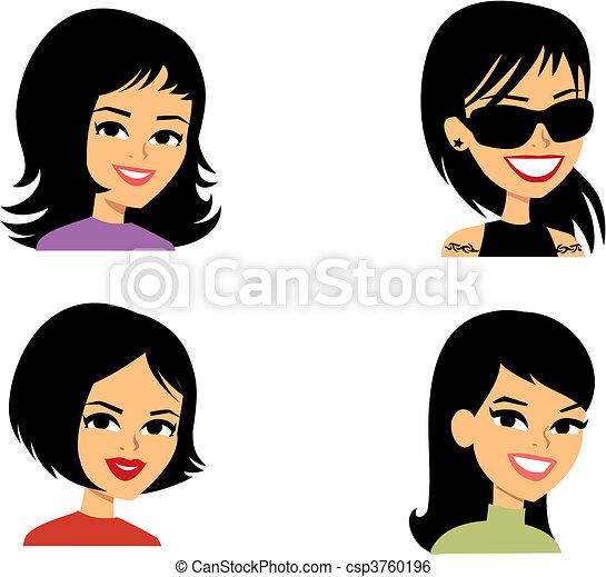 avatar, 婦女, 卡通, 肖像插圖 - csp3760196