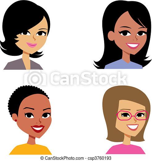 avatar, 婦女, 卡通, 肖像插圖 - csp3760193