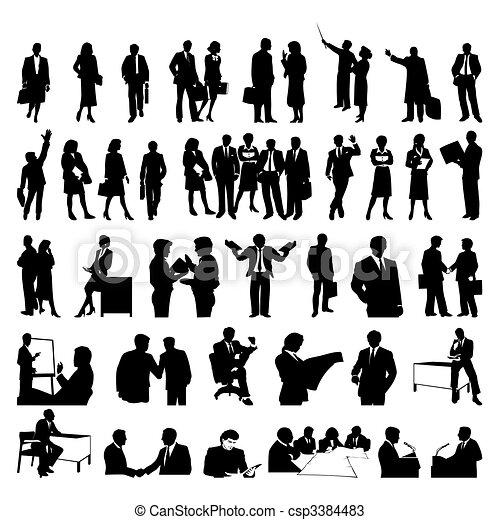 businessmen., 黑色半面畫像, 矢量, 黑色, 插圖 - csp3384483