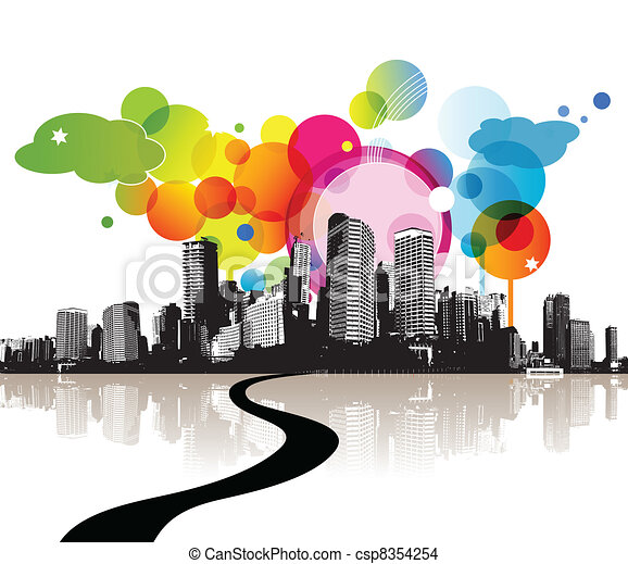 city., 插圖, 摘要 - csp8354254