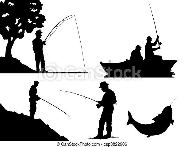 colour., 插圖, 黑色半面畫像, 矢量, 黑色, 漁夫 - csp3822906