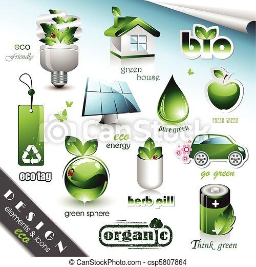 eco, 元素, 圖象, 設計 - csp5807864