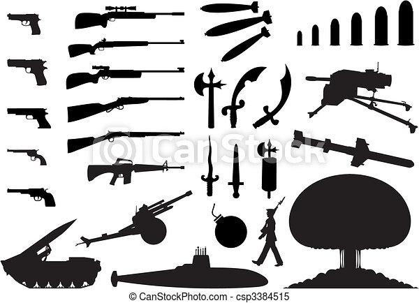 engineering., 武器, 插圖, 黑色半面畫像, 矢量, 各種各樣 - csp3384515