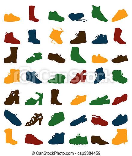 footwear., 黑色半面畫像, 矢量, 插圖, 彙整 - csp3384459