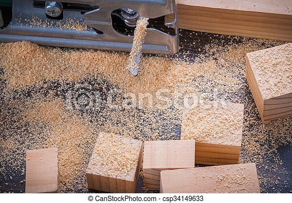 fretsaw, 鋸屑, 葡萄酒, 磚, 木頭, 電, bac, 木制 - csp34149633