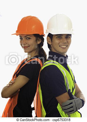 hardhat, 工人, 男性, 女性 - csp6753318
