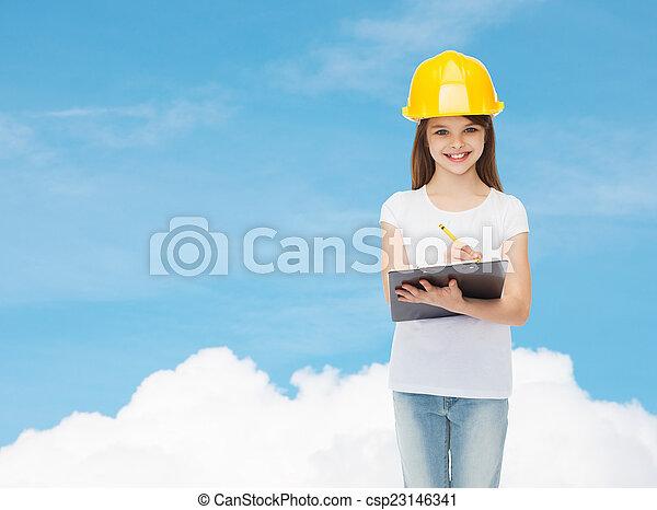 hardhat, 很少, 剪貼板, 微笑的 女孩 - csp23146341