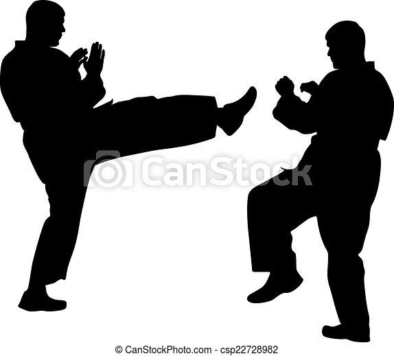 karate., 運動, 黑色, 黑色半面畫像, 矢量, illustration. - csp22728982