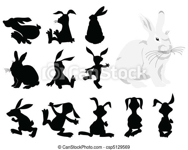 movement., 插圖, 黑色半面畫像, 矢量, 黑色, 兔子 - csp5129569