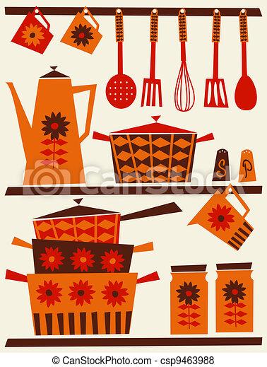 retro, 廚房 - csp9463988