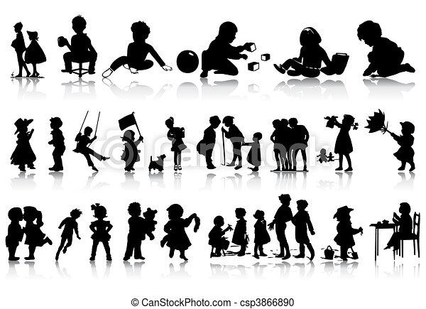situations., 插圖, 黑色半面畫像, 矢量, 各種各樣, 孩子 - csp3866890