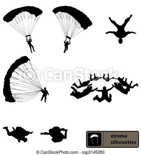 skydiving, 黑色半面畫像, 彙整 - csp3145280