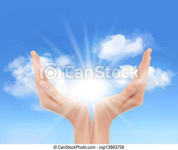 sun., 手, vector., 明亮 - csp13863758