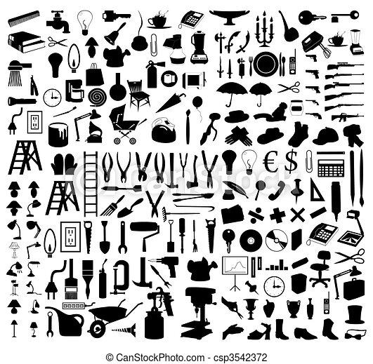 tools., 插圖, 黑色半面畫像, 矢量, 各種各樣, 主題 - csp3542372