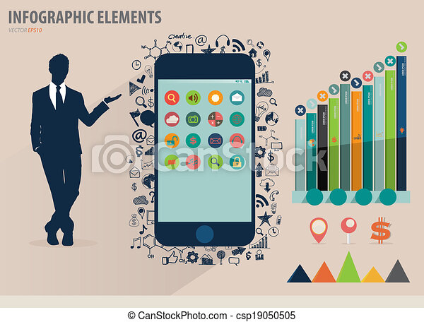 touchscreen, 矢量, 鮮艷, 顯示, 插圖, 紙, infographics, 設備, 商人, template. - csp19050505