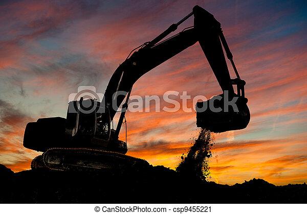 track-type, 工作, 挖掘機, loader - csp9455221