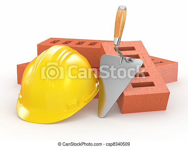 trowel., 磚, hardhat, 3d - csp8340509
