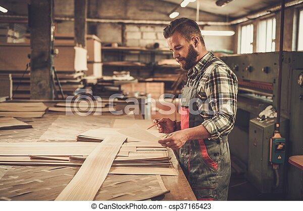 workshop., 工作, 木工工作, 他的, 木匠 - csp37165423